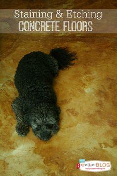 Staining Your Concrete Floor | TodaysCreativeBlog.net | Etching and staining concrete floors
