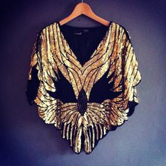 Art Deco 20s Style Vintage Sequin Capelet by VioletsAtticVintage Maybe like this but only the outline in lighter colours? Or painted with some beads?