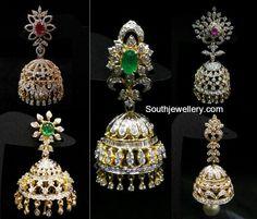 Jhumkas latest jewelry designs - Page 3 of 77 - Indian Jewellery Designs Indian Jewelry Earrings, Big Earrings, Bridal Earrings, Bridal Jewelry, Temple Jewellery, Pearl And Diamond Necklace, Diamond Jewelry, Gold Jewelry, Diamond Earrings