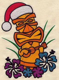 Tiki Christmas Embroidered Terry or Linen Hand Towel Tropical Christmas, Christmas In July, Christmas Design, Christmas Art, Christmas Decorations, Coastal Christmas, Christmas Morning, Luau Theme Party, Tiki Party