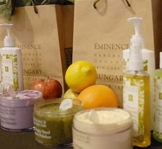 Eminence Organic Skincare- had facial at four seasons where they used these products and they smelled and felt wonderful! Found them on amazon for less at the spa!