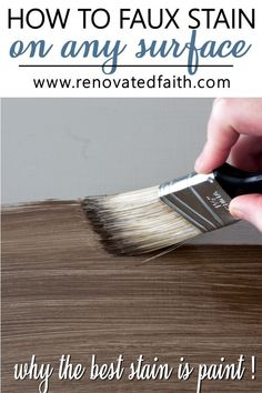 Apply Paint that Looks like Stain the EASILY! This simple barn wood stain tutorial shows how to faux stain furniture with latex paint with dark walnut colored paint. The technique requires no strippin Chalk Paint Furniture, Furniture Projects, Furniture Makeover, Painted Furniture, Diy Furniture, Laminate Furniture, Refinished Furniture, Painting Trim, Diy Painting