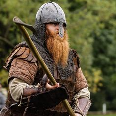 Viking warrior reenactor, with an awesome beard, and accurate garb!