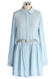 Autumn Breeze Shirt Dress with Cutout Waist