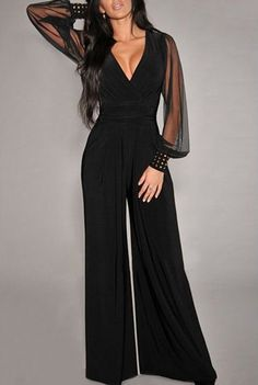 Black Patchwork Grenadine Rivet High Waisted Long Jumpsuit