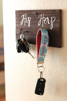 His and Her Key Holder Rustic Home Decor by ThePaperWalrus