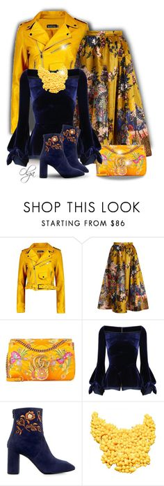 """""""Floral and Colorfull"""" by olga1402 on Polyvore featuring Boohoo, Erdem, Gucci, Roland Mouret, Eugenia Kim, Prada, Spring, yellow, floralprint and floralskirt"""