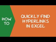 In this tutorial, you'll learn how to use Find and Replace to quickly find hyperlinks in Excel. You can find all the hyperlinks or the ones that contain a specific text. Microsoft Excel, Excel Hacks, Pivot Table, Ms, Career, How To Remove, Notes, Tutorials, Technology