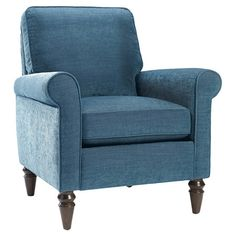 Pairing classic design with contemporary style, this chic arm chair highlights its streamlined silhouette with peacock-hued upholstery and a high back cushio...