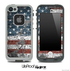 American Flag Brick Print Skin for the iPhone 4/4s or 5 LifeProof Case