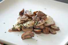 seared chicken cutlets with mushrooms