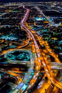 The nighttime artistry of Los Angeles, California USA. The Freeway network