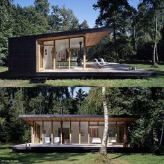 A Sweet Little Summer Cottage In Denmark by Christensen & Co. Small Modern House Plans, Small House Design, Cottage Design, Modern House Design, Casas Containers, Prefab Homes, Prefab Cabins, Little Houses, House In The Woods