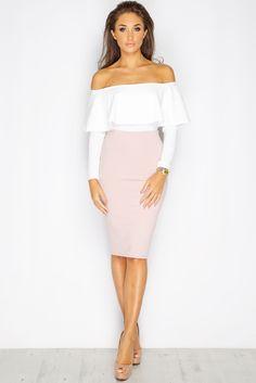 1f8b2065b83 Megan McKenna Cream Bardot Frill Bodysuit