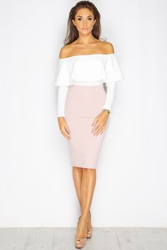 Megan McKenna Cream Bardot Frill Bodysuit at misspap.co.uk