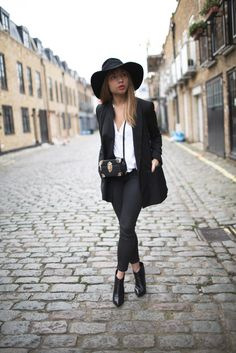 Own; Black longline blazer Own: White top Own: Tight black jeans Own: Black ankle boots