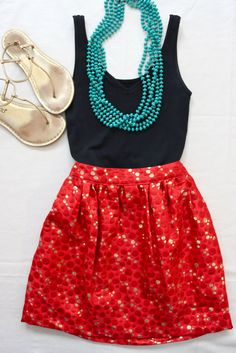 Summer style: Navy tank, red skirt, teal beaded necklace, gold sandals.