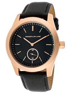 Kenneth Jay Lane Women's Rose Gold & Black Leather Watch
