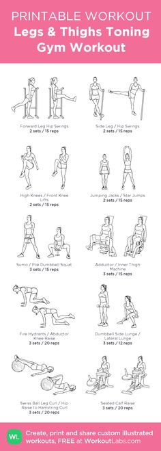 Legs Thighs Toning Gym Workout – my custom workout created at WorkoutLabs.com • Click through to download as printable PDF! #customworkout