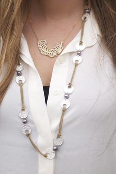 love these layered necklaces #fringeandlace #liasophia #goldfeather