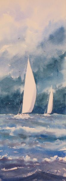"Retreat - 15x5.5"" original watercolor painting by Jim Oberst - $100 incl. U.S. shipping."