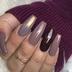 Coffin shape with all shades of brown, shimmery brown, and chrome! Beautiful nails by Ugly Duckling Nails page is dedicated to promoting quality, inspirational nails created by International Nail Artists # Sexy Nails, Glam Nails, Fancy Nails, Love Nails, Gorgeous Nails, Pretty Nails, Acrylic Nail Designs, Nail Art Designs, Coffin Shape Nails