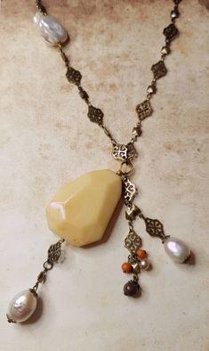 Sleek sellouts! 🤓. Order Moukaite Stone, Fresh Water Pearl & Filigree Brass Necklace at €46.00 #etsy #ArtDeco #handmadejewelry #ArtNouveau #rustic #bohemian #romantic #retro #vintage Boho Jewelry, Vintage Jewelry, Handmade Jewelry, Vintage Bohemian, Retro Vintage, Bride Earrings, Mixed Metal Jewelry, Brass Necklace, Healing Stones
