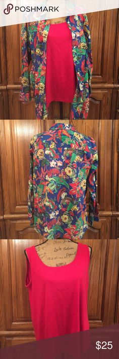 """Talbots Woman Floral Print Button Down w/ Red Tank Gently worn size 2x the shirt is made of 100% cotton and measures approximately 25.5"""" flat underarm to underarm and measures approximately 29.5"""" long measured from shoulder to hem.  The tank is made of 93% cotton and 3% spandex. It measures approximately 21"""" flat underarm to underarm and measures approximately 26"""" long measured from shoulder to hem Talbots Tops Button Down Shirts"""