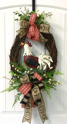 This is a sweet rooster wreath and perfect in a home with rooster decor. This is a sweet rooster wreath and perfect in a home with rooster decor. Wreath Crafts, Diy Wreath, Door Wreaths, Grapevine Wreath, Wreath Ideas, Holiday Wreaths, Christmas Decorations, Easter Wreaths, Rooster Decor