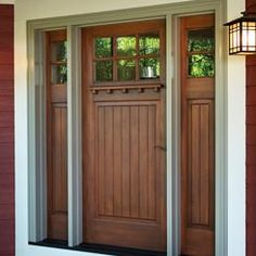 "Craftsman Collection Entrance Door by Kolbe® windows & doors.  Wood door panel features an optional mantel and PDL bars. Frame is extruded aluminum clad in Sand, with a 3-1/2"" extruded brickmould. #N100"
