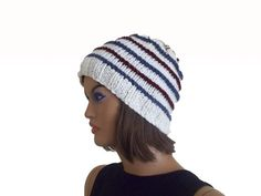 Knitting unisex beret beanie in cream blue and by KnitterPrincess, $32.00