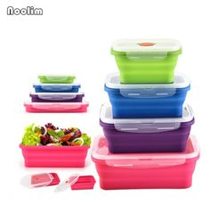 Buy Portable Silicone Bento Box Folding Lunch Bowl Food Storage Container Boxes Tableware at Wish - Shopping Made Fun Fruit Storage, Food Storage Containers, Rv Storage, Field Meals, Boite A Lunch, Portable Food, Four Micro Onde, Food Stations, Foods