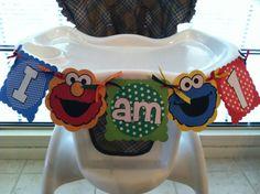 Sesame Street Highchair Banner- I am One, I am Two Banner- Elmo, Cookie Monster- Sesame Street Birthday Banner. $12.00 USD, via Etsy.