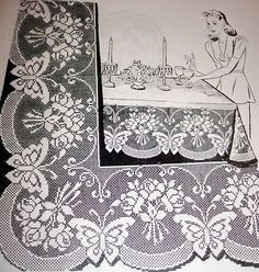 7126 vintage filet BUTTERFLY/ROSES BORDER pattern to crochet (Reproduction)