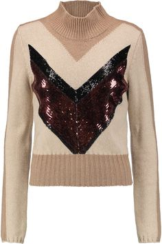 GIAMBATTISTA VALLI Sequin-Embellished Camel Hair Sweater. #giambattistavalli #cloth #sweater