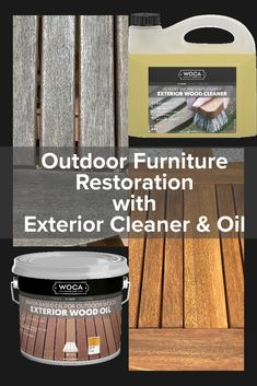 Clean and renew your old, aged outdoor wood with Exterior Cleaner and Exterior Oil.  Easy to use.  10 colors available. Outdoor Wood Projects, Outdoor Wood Furniture, Outdoor Flooring, Wood Surface, Furniture Restoration, Beehive, Natural Wood, Hardwood Floors, Exterior
