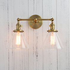 Permo Double Sconce Vintage Industrial Antique Wall Sconces with Funnel Flared Glass Clear Glass Shade (Antique) Outdoor Wall Lighting, Industrial Lighting, Wall Sconce Lighting, Wall Sconces, Edison Lighting, Sconces Living Room, Vintage Industrial, Industrial Loft, Industrial Windows