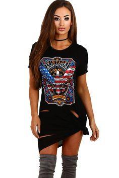 Black Printed Distressed T-Shirt Dress. Ailunsnika 2017 Tunic Black Graphic  Printed Distressed T-shirt Dress Women Summer Ladies Short Sleeve ... f3c5fc60e
