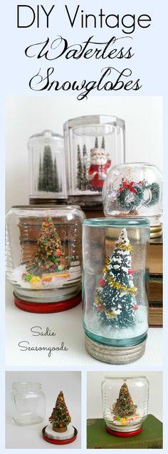 DIY Vintage Waterless Snowglobes using antique mason jars and vintage bottle brush trees by Sadie Seasongoods / www.sadieseasongoods.com