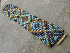 Bead Loom Bracelet Ideas   Loom Beaded Cuff bracelet in purple gold and by Anabel27shop