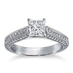 Brides: Engagement Rings Under $10,000: Get the Look   Engagement Rings   Brides.com, milgrained cathedral pavé princess-cut diamond engagement ring in platinum. #bluenile #brides
