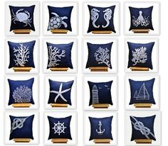 Nautical Pillow Covers 18 x 18 Throw Pillow Cover  Set by KainKain, $88.00