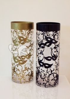 Masquerade decorative events | Masquerade Decal on Cylinder Vase :: Decorative Events & Exhibitions