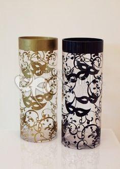 Masquerade decorative events | Masquerade Decal on Cylinder Vase :: Decorative Events & Exhibitions