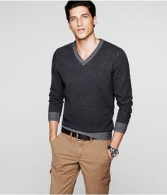 PLAITED COTTON V-NECK SWEATER | Express.   This V-neck sweater is a wardrobe essential for fall. Pure cotton gives you comfort while a pair of cargo pants adds some utility to the look.