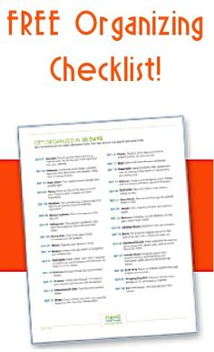 FREE 30-Day Organizing Checklist! #organization