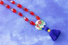 Royal Blue and Red Vintage Tin Red Flower Tassel Necklace with