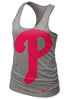 Philadelphia Phillies Women's Heather Grey Cotton Racerback Tank by Nike $30.00 www.rallyhouse.com