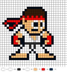 Ryu Street Fighter 2 Perler Bead Pattern