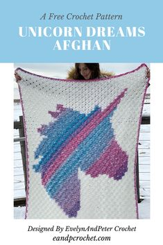 Free Crochet Pattern: Unicorn Dreams Afghan - Evelyn And Peter Crochet The Unicorn Dreams Afghan is a free crochet pattern by EvelynAndPeter. This blanket is made using the crochet method. Perfect for any unicorn lover! Motifs Afghans, Afghan Crochet Patterns, Dress Patterns, Crochet Home, Crochet Yarn, Crochet Flowers, Crochet Afgans, Crochet C2c Pattern, Free Pattern